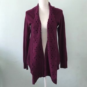 Sleeping on snow open front plum cardigan size M B